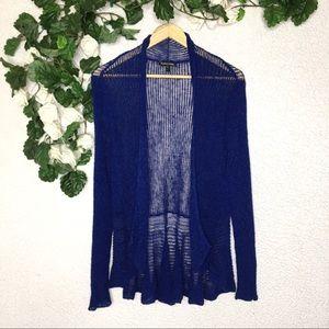 Eileen Fisher Open Front Linen Blend Knit Cardigan